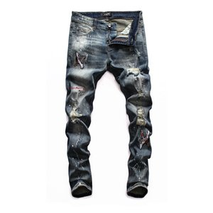 mens denim jeans black ripped pants best version skinny broken Italy style bike motorcycle New Arrivals Famous Brand Jeans