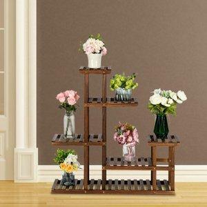 5 Tier Wood Flower Plant Stand Pot Shelf Rack Indoor Outdoor Patio Garden Home