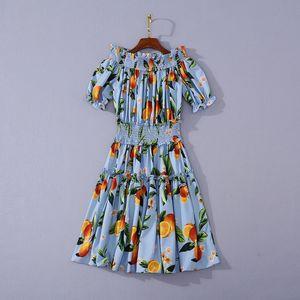 2020 Summer Newest Luxury Short Sleeve Slash Neck Floral Print Panelled Blue Elastic Waist Mini Short Dress Runway Dresses JL141605