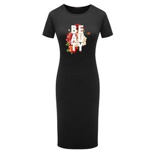 DIY Desses Women Summer Fashion Letter Printed with Flower Dress Women Sexy Bodycon Dress 2020 New Arrival Short Sleeve Designer Dress