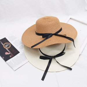 Bow Knot Women Straw Hat Holiday Retro Lady Wide Brim Natural Hat Girl Beach Casual Protetion Visor Sun Outdoor Hats LJJP105