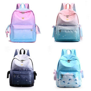 School Students Shoulders Backpacks Girl Korean Nylon Waterproof bag Outdoor Travel Backpack Inkjet Painting Women Men Unisex 35cl B2