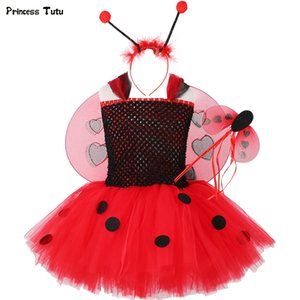 1set Coccinelle Tutu Dress Baby Girl Birthday Party Dress enfants Halloween Lady bug Costume Outfit Ladybird Filles Fancy Dress Up 1-14 T200709
