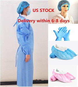 US STOCK, Isolation imperméable Vêtements Frenulum Vêtements de protection à usage unique Robes One Time non tissé costumes de protection en tissu