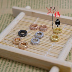 862qv DIY micro-inlaid copper gold-plated partition bead high-grade micro-inlaid diamond ring bracelet beads DIY accessories accessories col