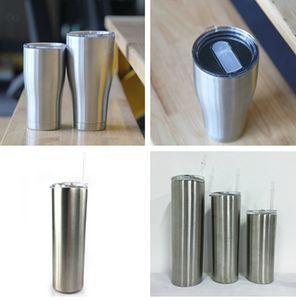 25pcs / lot locales de almacén 20 oz 30 oz vaso delgado curva curva vaso de acero inoxidable de doble pared clásica en blanco sublimación portátil
