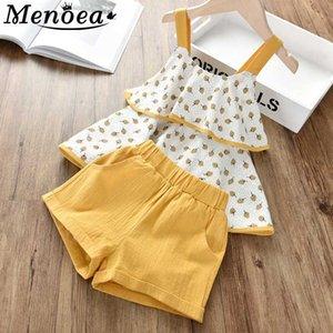 Menoea Çocuk Giyim 2020 Çocuk Kız Yaz Kolsuz Sling Çiçek şifon Elbise Suits 2adet Bebek Setleri