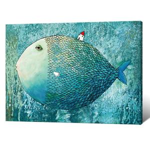 Çocuk Odası Duvar Dekoru Karikatür Balık Tuval Tablolar İskandinav Stili Posterler ve Baskı Duvar Asma Resimleri