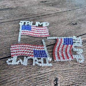 Trump Pin Spilla diamante Flag spilla di strass Lettera Trump Spille di cristallo Distintivo Coat Dress perni di vestiti gioielli GGA3593-4