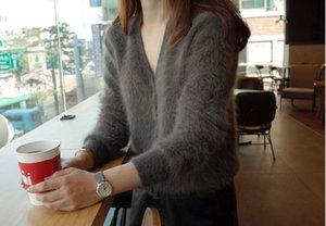Европейский Новый дизайн женщин двойной F Письмо печати О-образным вырезом трикотажные с длинным рукавом лоскутное искусственный мех мохер шерсть короткое пальто куртка SML