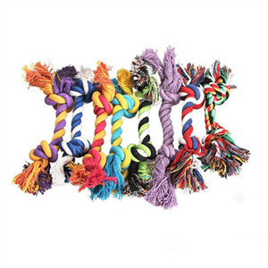 2020 Pets dog Cotton Chews Knot Toys colorful Durable Braided Bone Rope 18CM Funny dog cat Toys