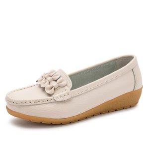 VEAMORS Women Flat Platform Shoes Wedges Lazy Person Flat Bottom Lightweight Joker Leather Soft Breathable Shoes Big Size35-44