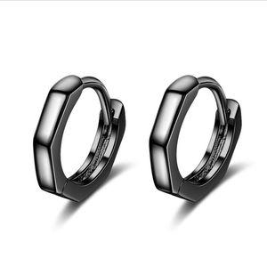 RONERAI New Charm Silver 925 Earrings For Women Jewelry Fashion Black Gold Geometric Hoop Earrings Unisex Valentine's Day Gifts