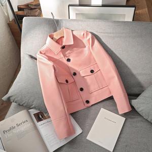 FMFSSOM 2020 mujeres solo pecho corto chaquetas rosa del motorista chaqueta de cuero de imitación de cuero de la motocicleta del Cazadoras de mujeres