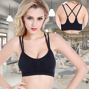피트니스 여자 속옷을 실행하는 새로운 크로스 뷰티 돌아 가기 무테 스포츠 브라 원활한 탄성 스트랩 슬립 요가