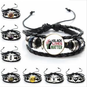Protestation américaine Je ne peux pas respirer Bracelet vies Noir Fist Matière Bracelets main en cuir tressé Bangles Hommes Femmes Bijoux