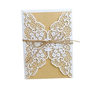 10Pcs Laser Cut Wedding Laser hollow Invitations Cards West Wedding Bridal Shower Gift Greeting Card Party Decor