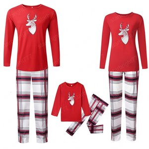 Christmas Family Pajamas Clothes Set Elk Print Mom Dad Daughter Son Sleepwear Long-Sleeve T-Shirt+Plaid Pant Clothing Suit
