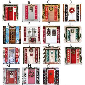عيد الميلاد الاثنان راية مغطاة تسجيل عيد الميلاد الباب حزب العائلة للتسوق مول عطلة الشنق الديكور 15 أنماط