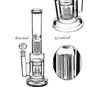 De altura 18 mm Bong Tazón percolador del vidrio grueso agua Bongs Honeycomb Perc fumadores de pipa de agua pelele Heady Dab Rigs 13,8 Inchs