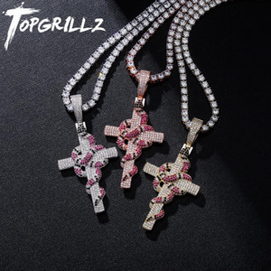 TOPGRILLZ New Snake Winding Cross Pendant Necklace Iced Out Cubic Zirconia Pendant Christmas Halloween Hip Hop Jewelry Gifts CX200721