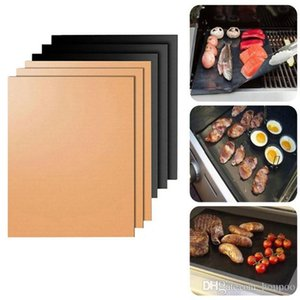 Non-Stick PTFE 33*40CM 24*34CM Black Copper BBQ Gas Grill Barbecue Mat Reusable Cover Microwave Mats for Cooking Baking