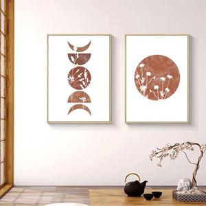 Cartel del extracto de la lona de la flor de pared de la hoja Pintura Gráficos Lámina minimalistas del posters Los cuadros de la pared para la decoración del hogar
