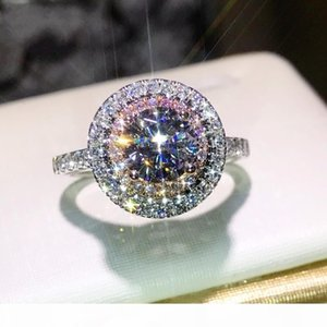 K Christams Gift Hot Sale Stunning Luxury Jewelry 925 Sterling Silver Color Pink &White Sapphire Cz Diamond Round Cut Women Wedding Ban