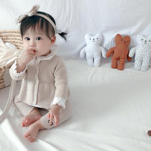 2020 Primavera Autunno Carino Maglione a maniche lunghe per bambini con camicia e pantaloni Suit 3pcs Baby Girls Top Pants Outfits