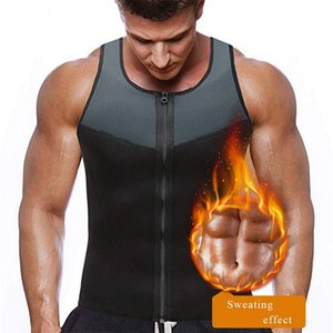 Men's Sport Shirt Slimming Zipper Neoprene Tank Top Sauna Suit Waist Trainer Sportswear Male Compression Slim Vest Running Vest