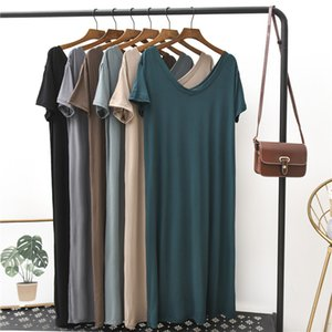 2020 Summer Long Dress Women Beach Style Mid-Calf Vestidos V-neck Solid Short Sleeve Modal Cotton Casual Woman Dress for Home