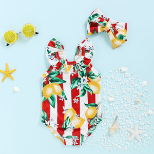 Cute Toddler Girls Swimsuit One Piece Fruit Printing Stripe Lemon And Bow Headband Lovely Girls Beach Bathing Suit M162