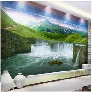 fenêtre papier peint peinture murale fonds d'écran 3d fonds d'écran cascade mur de fond TV peintures murales Fond d'écran 3D pour le salon