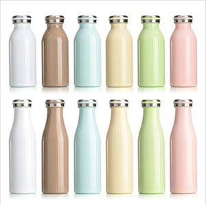 Молоко Insulated Bottle Macaron Цвет 350мл 500мл с вакуумной изоляцией бутылкой из нержавеющей стали Студенческой бутылки молока с крышкой