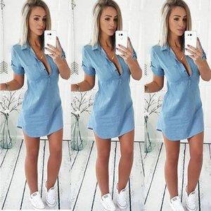 2017 Fashion Women's Ladies Summer Short Sleeve Loose Denim Shirt Blouse Casual Turn-down Collar V Neck Tops Shirts Y200622