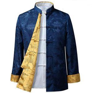 Men Shirt Tang Costume su due lati Costume maniche lunghe di stile cinese rivestimento del collare di mezza età più vecchio Padre reversibile jacket1