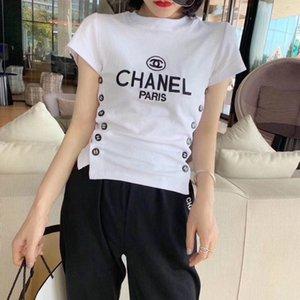 기본 셔츠 다양한 여성의 섹시한 라운드 넥 반팔 T 셔츠 2020 여름 새로운 한국어 양면 버튼 슬리밍 최고