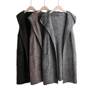ests & Waistcoats 2019 Women Outwear Knitted Vest Hooded Autumn Winter WaistCoat Long Solid Sleeveless Cardigan Femme Veste Gilet Free Sh...