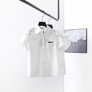 20ss short sleeve casual brand shirt women blouse Imported material Comfortable and breathable letter Inverted triangle lapel shirts