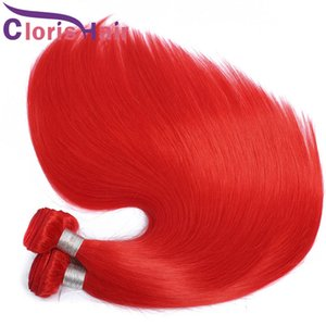 New Arrivals Red Colored Human Hair Weave 3 Bundles Peruvian Virgin Silky Straight Reinfored Weft Full Tips Red Hair Extensions 12-24 Inch