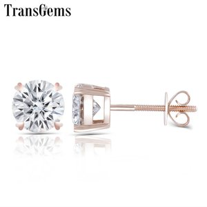 Transgems Solid 14K 585 Rose Gold 2CTW 6.5MM F Color Moissanite Stud Earrings Screw Back Classic Pink Gold Earrings for Women Y200620