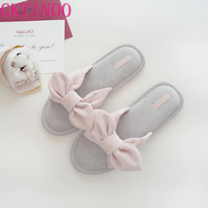 GKTINOO Sweet bowknot home slippers women shoes simple slides soft Bedroom non-slip Slippers cute indoor terlik mujer summer