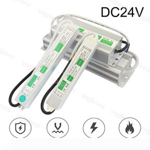 Lighting Transformers DC24V 80W 60W 100W Waterproof 90~265V Aluminum Silvery Adapter For 2835 3014 LED Strip Modules Digital LED Pixel DHL