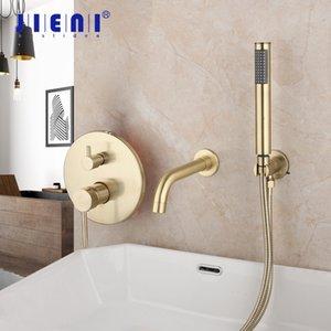 Jieni goldene überzogene Wand befestigter Badewannen-2 Funktionen Badezimmer-Hahn-Bürsten-Gold-Dusche-Satz-Hahn-Mischer-Dusche-Satz W / Handspray