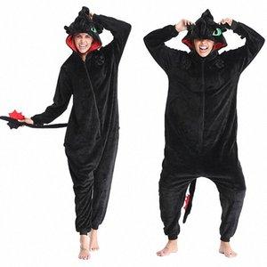 Come Train Your Dragon senza denti Anime Kigurumi inverno delle donne flanella Animal Tutina Carino Cosplay degli indumenti Tuta Pigiama l3o6 #