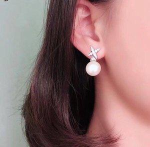 Hot Freshwater Pearl Cross Star Zircon Stud Earring Pure 925 Sterling Silver Wedding Jewelry