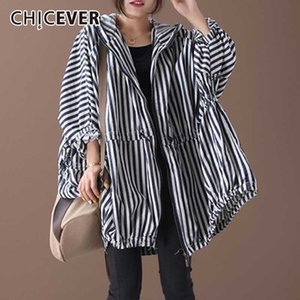 CHICEVER 2020 Autumn New Pattern Office Lady Style Full Sleeve Loose Vertical Striped Pattern Drawstring Hooded Collar Coat