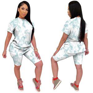 Femmes Designer Tie Dyed Survêtements Casual 2 Piece Biker Shorts Slim manches courtes O Neck Survêtements Mode Femmes taille haute Survêtements