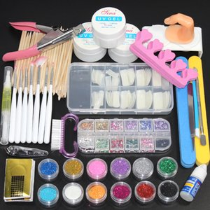 27pcs set nail powder acrylic glitter powder set for manicure Kit Gel nail polish decoration fake nail tip Gel brush tool set