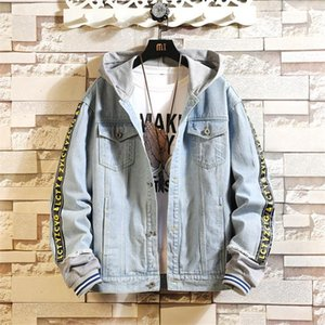 Fashion Autumn Denim Jacket Mens Print Harajuku Bomber Jacket Male hip hop denim jackets for man Chaqueta Hombre Streetwear